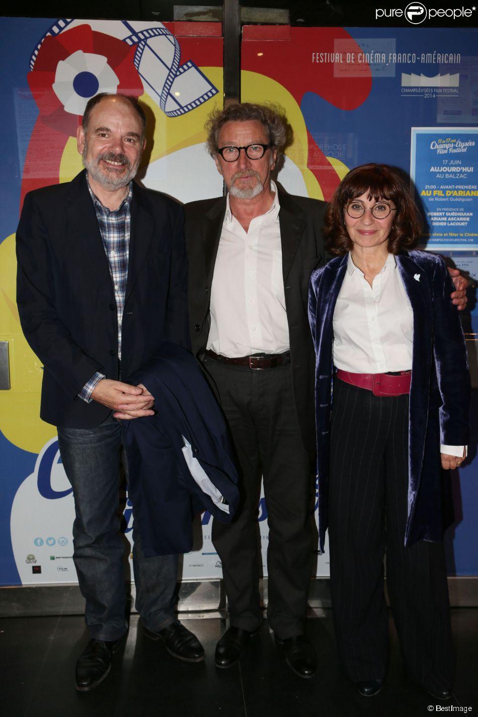 Exclusif - Jean-Pierre Darroussin, Robert Guédiguian, Ariane Ascaride - Cocktail sur la terrasse du Publicis lors du 3e Champs-Elysées Film Festival à Paris, le 17 juin 2014.