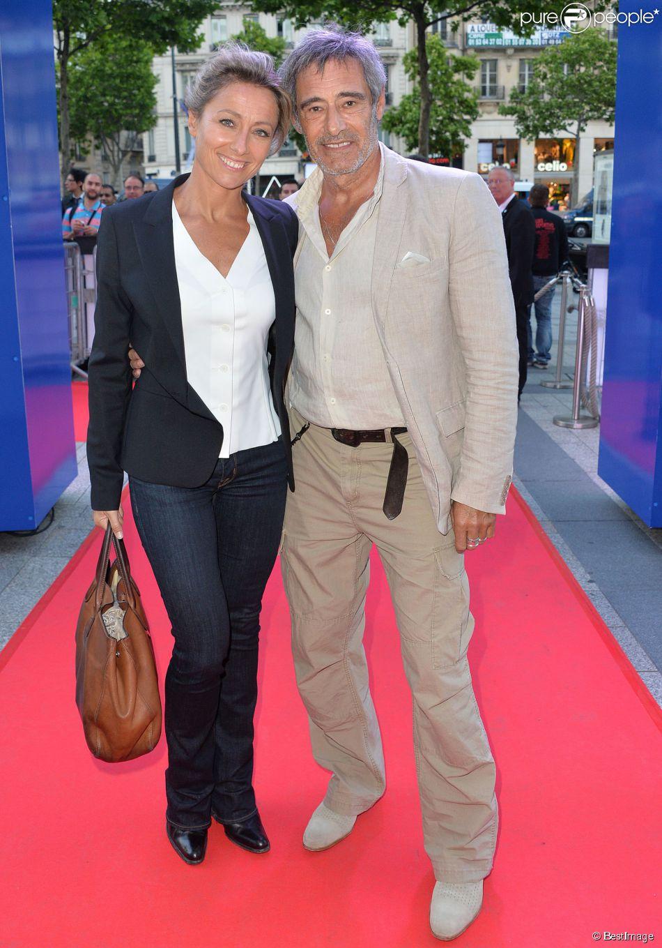 """Exclusif - Anne-Sophie Lapix et Gérard Lanvin - Les acteurs et les invités du film """"Bon rétablissement !"""" sur la terrasse du Publicis et à l'avant-première du film lors du 3e Champs-Elysées Film Festival à Paris, le 16 juin 2014."""