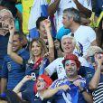La compagne de Mathieu Valbuena, dans les tribunes lors du match Suisse-France, au stade Fonte Nova à Salvador de Bahia au Brésil, le 20 juin 2014, pendant la coupe du monde de la FIFA 2014.