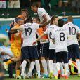 Paul Pogba, Olivier Giroud, Yohan Cabaye, Mathieu Valbuena, Karim Benzema et les autres joueurs de l'équipe de France, sur le terrain, lors du match Suisse-France, au stade Fonte Nova à Salvador de Bahia au Brésil, le 20 juin 2014, pendant la coupe du monde de la FIFA 2014.