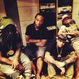 Wale, Ty Dolla Sign, Chris Brown et Tyga en studio d'enregistrement. Photo postée le 19 juin 2014.