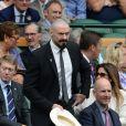 Hugh Jackman dans la Royal Box du Centre Court du All England Lawn Tennis and Croquet Club de Wimbledon, le 24 juin 2014