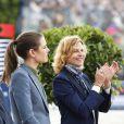 Charlotte Casiraghi et Virginie Coupérie-Eiffel - Troisième et dernier jour du Paris Eiffel Jumping présenté par Gucci, septième étape du Longines Global Champions Tour, à Paris le 6 juillet 2014.