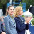 Virginie Coupérie-Eiffel et Charlotte Casiraghi - Troisième et dernier jour du Paris Eiffel Jumping présenté par Gucci, septième étape du Longines Global Champions Tour, à Paris le 6 juillet 2014.
