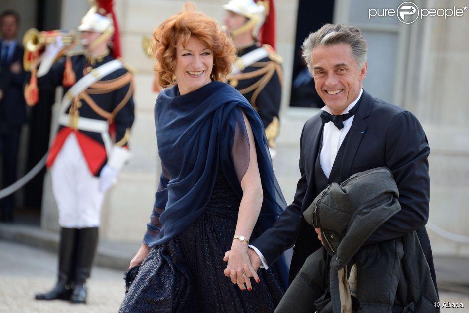 Gerard Holtz et Muriel Mayette-Holtz au palais de l'Elysée, le 6 juin 2014.
