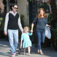 Exclusif - Amy Adams, son fiancé Darren Le Gallo et leur fille Aviana sont allés déjeuner au restaurant El Compadre à Los Angeles le 13 avril 2014
