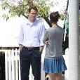 """Katie Holmes et Ryan Reynolds sur le tournage du film """"Woman in Gold"""" à Culver City, le 16 juillet 2014."""