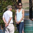 """Katie Holmes sur le tournage du film """"Woman in Gold"""" à Culver City, le 16 juillet 2014."""