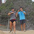 Maria Sharapova s'entraîne à Los Angeles, le 16 juillet 2014.