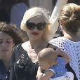 Gwen Stefani, son fils Apollo Bowie Flynn et son mari Gavin Rossdale quittant le club 55 de Saint-Tropez, le 1er août 2014
