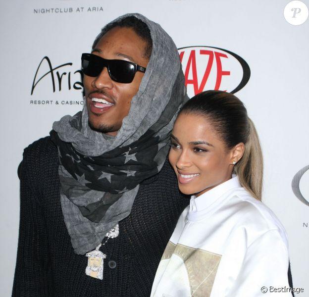 """La chanteuse Ciara et le rappeur Future au club """"Haze"""" pour un concert a Las Vegas, le 28 mars 2013."""