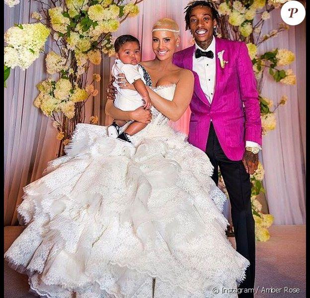 Photo souvenir du mariage d'Amber Rose et Wiz Khalifa. Le 18 août 2013.