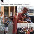 Tiago à la découverte de Salzbourg en août 2014 avec sa maman Anna Netrebko, entre deux répétitions... La soprano russe Anna Netrebko a fêté ses fiançailles avec le ténor azerbaïdjanais Yusif Eyvazov, en présence de son fils Tiago (5 ans), le 19 août 2014 à Salzbourg, en marge de sa participation au Festival dans le rôle de Leonora pour Il Trovatore de Verdi, avec Placido Domingo.