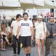 Pamela Anderson, son fils Dylan Jagger Lee, et son mari Rick Salomon se promènent sur le port de Copenhague, le 29 juillet 2014