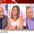 """La charmante Léa Salamé a dit au revoir à ses polémistes de """"Ça se dispute"""", Eric Zemmour et Nicolas Domenach. Sur i-TELE, samedi 5 juillet 2014."""