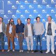 "Matthew Gledhill, Warren Ellis, Viggo Mortensen, David Oelhoffen, Reda Kateb, Marc Du Pontavice - Photocall du film ""Loin des Hommes"" lors du 71e festival international du film de Venise, le 31 août 2014."