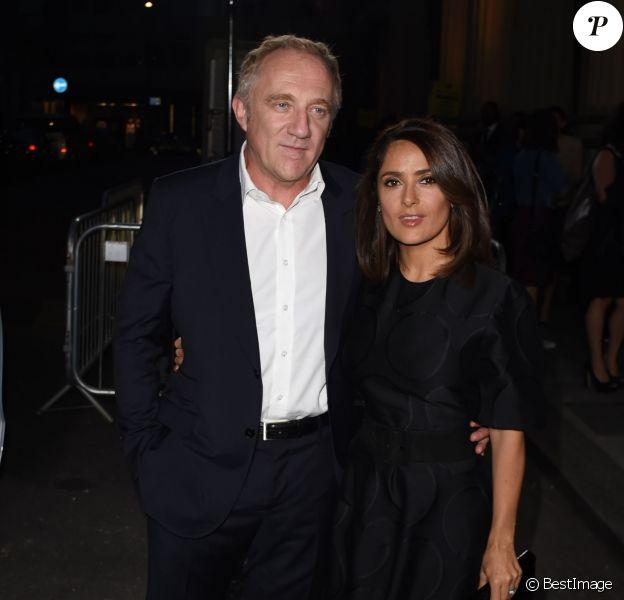 François-Henri Pinault et sa femme Salma Hayek assistent à la présentation de la collection écolo de Stella McCartney pour le Green Carpet Challenge. Londres, le 14 septembre 2014.