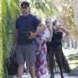 Exclusif - Jessica Simpson, son mari Eric Johnson et leur fille Maxwell à la fête d'anniversaire d'Eric Johnson, à Beverly Hills, le 15 septembre 2014.