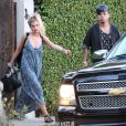 Exclusif - Ashlee Simpson et son mari Evan Ross à la fête d'anniversaire d'Eric Johnson, à Beverly Hills, le 15 septembre 2014.