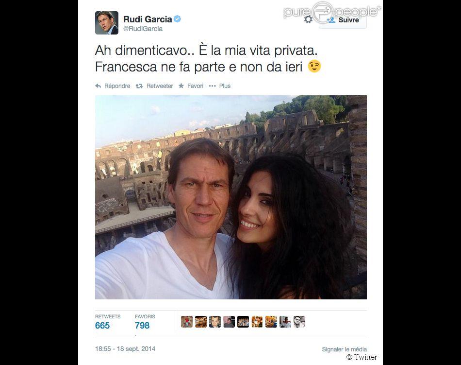Rudi Garcia officialise avec Francesca Brienza, sa nouvelle compagne à Rome - septembre 2014.