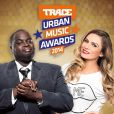 Clara Morgane et Issa Doumbia, futurs présentateurs des Trace Urban Music Awards 2014, dévoilent les noms des nominés de la cérémonie lors d'une conférence de presse au Casino de Paris. Le 23 septembre 2014.