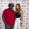Issa Doumbia et Clara Morgane lors de la conférence de presse des Trace Urban Music Awards 2014 au Casino de Paris. Paris, le 23 septembre 2014.