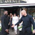 Kim Kardashian et Kanye West ont déjeuné au restaurant L'Avenue en famille, après le défilé Balmain, à Paris. Le 25 septembre 2014