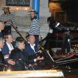 """George Clooney - Les futurs mariés quittent l'hôtel Cipriani en compagnie de leurs invités. George Clooney partira de son côté pour enterrer sa vie de garçons dans un restaurant """"Da Ivo"""", tandis qu'Amal rentrera à son hôtel. Venise, le 26 septembre 2014  George, Amal and guests go out from Hotel Cipriani. George and Amal say goddbay to each others and George goes to the restaurant """"Da Ivo"""" while Amal goes to the hotel Venice26/09/2014 - Venise"""