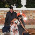 """Luciana Barroso et son mari Matt Damon - Les futurs mariés quittent l'hôtel Cipriani en compagnie de leurs invités. George Clooney partira de son côté pour enterrer sa vie de garçons dans un restaurant """"Da Ivo"""", tandis qu'Amal rentrera à son hôtel. Venise, le 26 septembre 2014  George, Amal and guests go out from Hotel Cipriani. George and Amal say goddbay to each others and George goes to the restaurant """"Da Ivo"""" while Amal goes to the hotel Venice26/09/2014 - Venise"""
