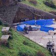 Exclusif - Reportage sur le tournage du nouveau Star Wars 7 dans le Berkshire en Angleterre, le 17 septembre 2014. On aperçoit un Millennium Falcon et X-wing devant un hangar.