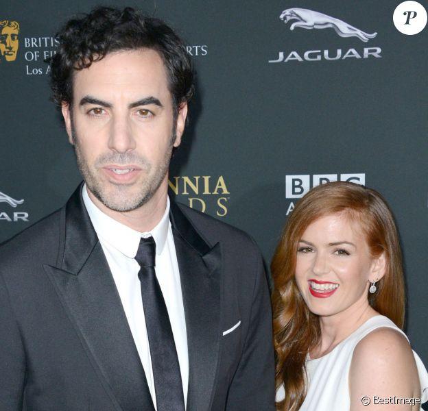 """Sacha Baron Cohen, Isla Fisher à la soiree """"2013 BAFTA LA Jaguar Britannia Awards"""" presentée par la chaîne """"BBC America"""" à l'hôtel Beverly Hilton à Beverly Hills, le 9 novembre 2013."""