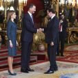 Le roi Felipe VI et la reine Letizia d'Espagne donnaient une réception pour près de 1500 invités au palais royal le 12 octobre 2014 à Madrid dans le cadre de la Fête nationale espagnole.