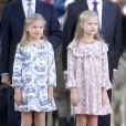Le roi Felipe VI était entouré de sa femme la reine Letizia et leurs filles Leonor, princesse des Asturies, et Sofia pour les célébrations de la Fête nationale, à Madrid, le 12 octobre 2014. Vidéo BestImage.