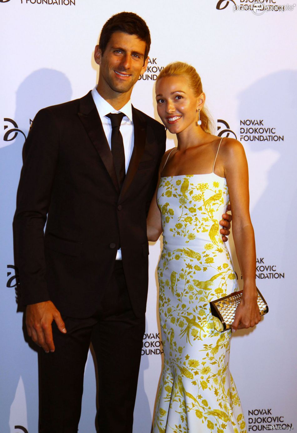 Novak Djokovic et sa compagne Jelena Ristic lors du dîner de gala de la fondation Novak Djokovic à New York, le 10 septembre 2013.