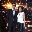"""Faustine Bollaert et Guillaume Pley lors du troisième prime de """"Rising Star""""  sur M6, la cité du Cinéma, Saint Denis, le 9 octobre 2014."""