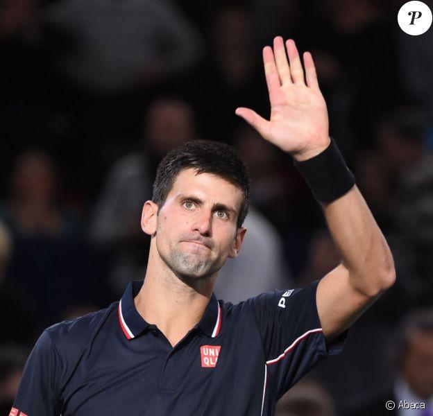 Novak Djokovic lors de son premier match au BNP Paribas Masters au POPB de Paris le 28 octobre 2014