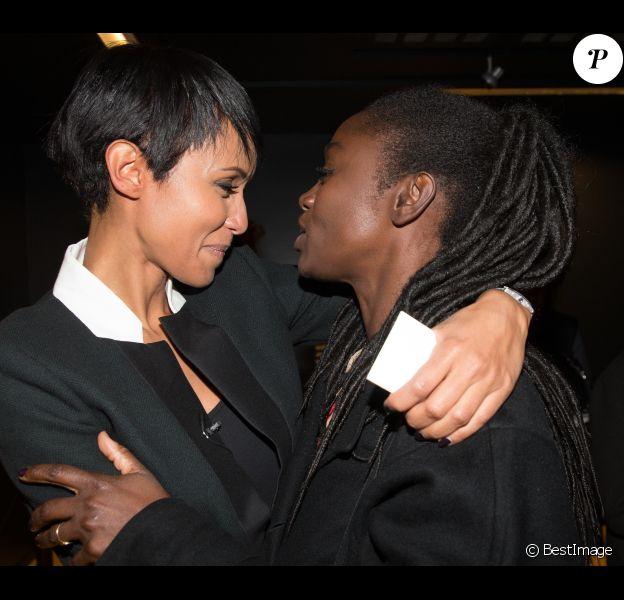 Exclusif - Proches amies, Sonia Rolland et Aïssa Maïga assistent à la première projection de son documentaire Rwanda : Du chaos au miracle, au musée Dapper à Paris le 29 octobre 2014.