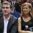 Manuel Valls et sa femme Anne Gravoin à la finale de l'Open Masters 1000 de Tennis Paris-Bercy entre Novak Djokovic et Milos Raonic à Paris le 2 novembre 2014.