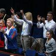 Boris Becker et les parents de Novak Djokovic à la finale de l'Open Masters 1000 de Tennis Paris-Bercy entre Novak Djokovic et Milos Raonic à Paris le 2 novembre 2014.