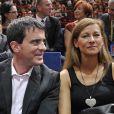 Jean Gachassin, président de la FFT (Fédération Française de Tennis), Manuel Valls et sa femme Anne Gravoin à la finale de l'Open Masters 1000 de Tennis Paris-Bercy entre Novak Djokovic et Milos Raonic à Paris le 2 novembre 2014.