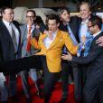 Bobby Farrelly, le producteur Joey McFarland, Jim Carrey, Peter Farrelly, Jeff Daniels, le producteur Riza Aziz et Swizz Beatz lors de l'avant-première du film Dumb & Dumber De à Los Angeles le 3 novembre 2014