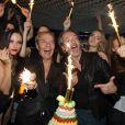 Exclusif - Jean-Michel Maire fête son anniversaire (53 ans) au Queen aux côtés de Tony Gomez à Paris, le 3 novembre 2014.