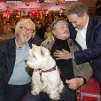 """Pierre Richard, Victor Lanoux et son chien, Michel Drucker - Enregistrement de l'émission """"Vivement Dimanche"""" diffusée le 16 novembre 2014 sur France 2."""