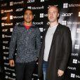 """Thierry Omeyer et Daniel Narcisse lors de l'inauguration de la première boutique éphémère """"Acer"""" rue des Halles à Paris, le 20 novembre 2014."""