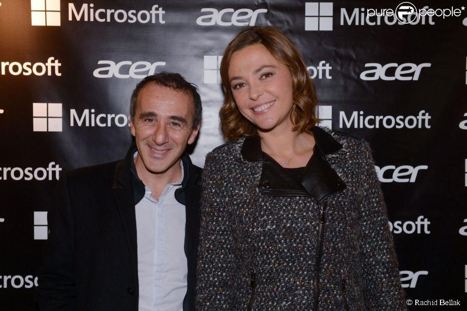 """Elie Semoun et Sandrine Quétier lors de l'inauguration de la première boutique éphémère """"Acer"""" rue des Halles à Paris, le 20 novembre 2014."""