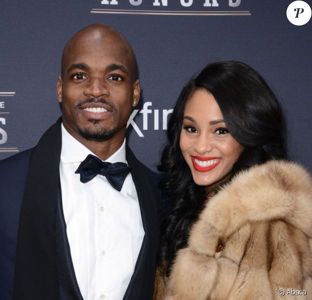 Adrian Peterson et son épouse Ashley Brown lors d'un gala à New York le 1er février 2014
