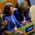 La reine Silvia de Suède au siège de l'ONU à New York le 21 novembre 2014 dans le cadre du 25e anniversaire de la Convention des droits de l'enfant.