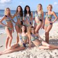 Miss Ile-de-France, Miss Aquitaine, Miss Orléanais, Miss Picardie, Miss Languedoc, Miss Champagne Ardenne et Miss Pays de Loire prennent la pose en bikini pour la photo officielle, à Punta Cana, en République Dominicaine, avant le grand jour, le 6 décembre prochain.