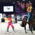 Electra Niarchos et Philippe Rozier lors de l'épreuve Style & Sport Competition for AMADE au troisième jour du Gucci Paris Masters à Villepinte le 6 décembre 2014