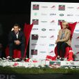 Benjamin Castaldi, Ariane Massenet, Guillaume Durand lors de l'épreuve Style & Sport Competition for AMADE au troisième jour du Gucci Paris Masters à Villepinte le 6 décembre 2014